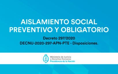 Actualización de nuestra modalidad de funcionamiento durante el Aislamiento Social, Preventivo y Obligatorio